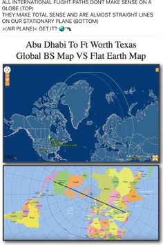 Abu Dhabi to Ft Worth TX flight path - only makes sense on a flat earth.
