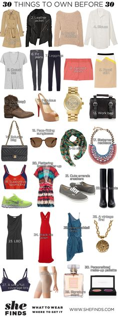 The 30 things every woman needs to own before 30. #SHEfinds