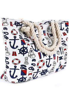 Its happy sailing with this adorable nautical print beach tote. This adorable sailor print tote bag is perfect for the beach. you will love the large size to fit everything you need for your day at th