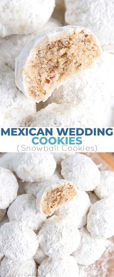These Mexican Wedding Cookies (also known as Snowball Cookies or Russian Tea Cakes) are buttery, melt-in-your-mouth delicious! Pecan cookies with a hint of cinnamon dusted with powdered sugar. Chocolate Marshmallow Cookies, Chocolate Chip Shortbread Cookies, Toffee Cookies, Walnut Cookies, Spice Cookies, Yummy Cookies, Cinnamon Cookies, Snowball Cookies Pecan, Owl Cookies