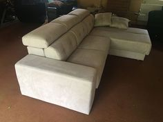 Habitat sofa and chaise (Duetto chaise) in Grigio Opal microfibre material. Armrest can deploy into a seat, chaise lounge into a single size bed with mattress cover stored under the chaise, and seats with manual sliding mechanism with storage. Versatile and a very comfortable sofa. Delivered to our client in Leicestershire. Modern Sofa, Modern Bedroom, Sofa Bed Mattress Cover, Single Size Bed, Leather Bed, Comfortable Sofa, Corner Sofa, Sofa Design, Contemporary Furniture