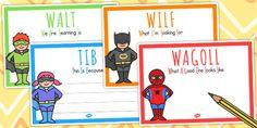 Superhero Themed WALT WILF TIB WAGOLL Posters - teaching aid Learning Goals, Learning Objectives, Teaching Strategies, Teaching Ideas, Classroom Organisation, Classroom Displays, Classroom Themes, Superhero Classroom, School Classroom
