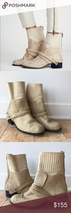 ✨ Free People Cream Lexington Boot ✨ Textured leather ankle boots with leather ankle holster and back-zip closure. *By FP Collection *Leather *Made in Portugal Free People Shoes Heeled Boots