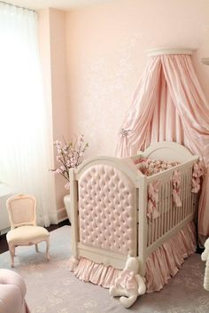 Gorgeous Baby Girl's Pink French Nursery Room ~ ♥