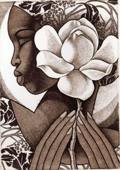 Artist: Keith Mallet. Title: Magnolia Descripton: Copperplate aquatint etching
