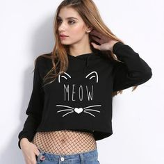 Designer Clothes, Shoes & Bags for Women Crop Top Hoodie, Crop Tops, Cat, Hoodies, Shoe Bag, Store, Stuff To Buy, Clothes, Shopping