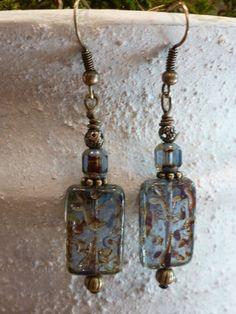 Czech glass beaded earrings picasso rectangle by SusansBeadGarden