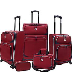 I think I like the red better than the blue. Beverly Hills Country Club San Vincente 5 Piece Spinner Luggage Set - Ruby Red - EXCLUSIVE COLOR - via eBags.com!