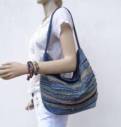 Denim tas raggy slouchy Hobo bag handtas handtas gerecycleerd upcycled kleine