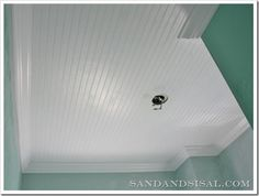 Installing a Bead Board Ceiling... I really like this idea, it makes everything look crisp and clean. - fabuloushomeblog.com