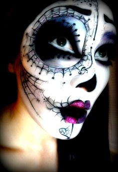 Sugar skull, makeup, face paint, Halloween makeup, Halloween, Dia de Muertos, day of the dead