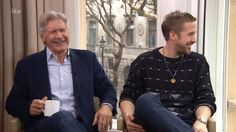 Watch Ryan Gosling and Harrison Ford Lose It During TV Interview Ryan Gosling Interview, Harrison Ford, Can't Stop Laughing, Celebrity News, Bomber Jacket, Tv, Celebrities, Watch, Funny