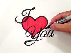 How to Draw I Love You with a Heart and in Fancy Cursive What you'll need: Pencil Eraser Black Marker (thick tip) Black Marker (fine tip for cleaning up edge. Love Doodles, Love Boyfriend, Boyfriend Gifts, Love You Baby, My Love, 3d Art Drawing, Drawing Ideas, Hello Kitty Drawing, Cute Drawings Of Love
