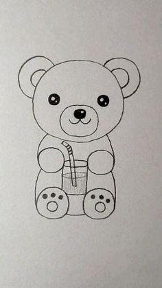 Easy Animal Drawings, Easy Doodles Drawings, Art Drawings For Kids, Art Drawings Sketches Simple, Cute Little Drawings, Cute Cartoon Drawings, Cute Easy Drawings, Cute Doodle Art, Cute Doodles