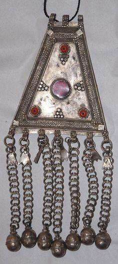 Large Saudi Arabian Bedouin Pendant with Glass Decoration