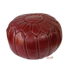 Moroccan Pouf Ottoman STUFFED in the UK. Genuine BURGUNDY Leather. Handmade…