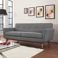 Modway Engage Mid-Century Modern Upholstered Fabric Sofa In Expectation Gray Contemporary Sofa, Modern Sofa, All Modern, Midcentury Modern, Modern Decor, Sofa Furniture, Living Room Furniture, Modern Furniture, Sofa Scandinavian
