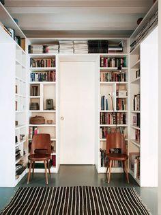 Bright & Cozy Barcelona Home #library #bookshelves #homedecor #interiordesign
