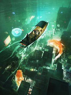 Cyberpunk City, Arte Cyberpunk, Fantasy Landscape, Fantasy Art, Dystopian Art, Apocalypse Art, Image Painting, Environment Concept Art, Art Series