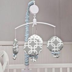 babybedding.com $67  Gray Geometric Musical Mobile | Carousel Designs