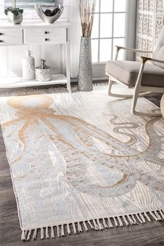 Home Interior Vintage Rugs USA Ivory Thomas Paul Metallic Printed Octopus Tassel rug - Animal Artistry Rectangle x Interior Vintage Rugs USA Ivory Thomas Paul Metallic Printed Octopus Tassel rug - Animal Artistry Rectangle x Beach House Furniture, Beach House Decor, Beach Houses, Beach Apartment Decor, Modern Beach Decor, Beach Room Decor, Chic Beach House, Beach House Bedroom, Modern Coastal