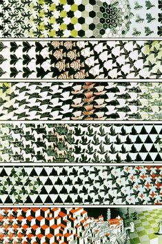 Metamorphosis III is a woodcut print by the Dutch artist M. Escher created between 1967 and Mc Escher, Escher Kunst, Escher Art, Escher Prints, Escher Drawings, Escher Tessellations, Zentangle, Tesselations, Math Art
