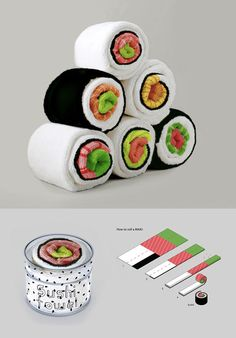 Fun concept by Jenny Pokryvailo of a towel that looks like a sushi roll when folded.