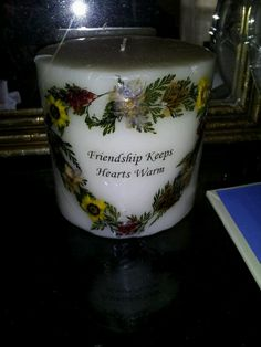 One of my favorite shops I love shopping and that you will definitely see me and often is Rockledge goodwill Center not only do I donate but I purchase 90 percent of my home there.  This candle is one of the beautiful finds that happen to come across was thinking very fondly of our friends.