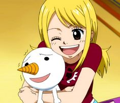 Fairy Tail, Lucy and Plue I never got what Plue was doing in this anime...? haha