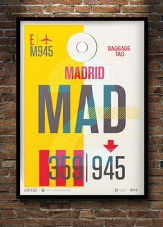 Madrid Travel Poster Art Illustration Print Vintage.