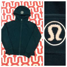 Lululemon Scuba hoodie Jade color with ivory logo. Good preloved condition. No stains, rips or pilling. Missing pony holder elastic. No trades. No PayPal. lululemon athletica Tops Sweatshirts & Hoodies