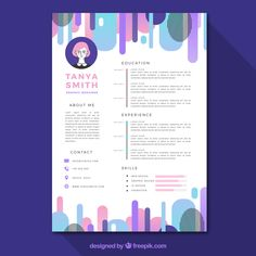 Abstract curriculum template with colorf. Resume Template Examples, Resume Design Template, Graphic Design Resume, Brochure Design, Curriculum Template, Cv Web, Resume References, Desing Inspiration, Web Design