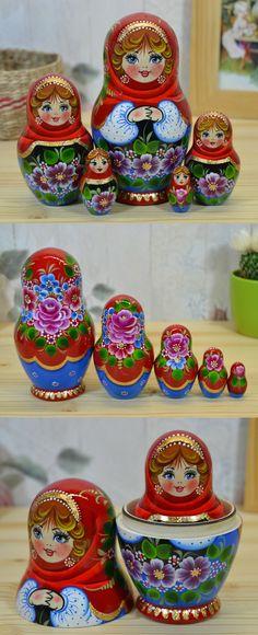 Babushka doll in red shawl, made by artist Valentina Partanen, more lovely matryoshka dolls at: www.bestrussiandolls.etsy.com