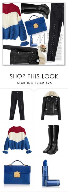 """""""Contrast Chunky Sweater"""" by nerma10 ❤ liked on Polyvore featuring Warehouse, Rubeus, Lipstick Queen, Blue, clothes, sweaterweather and snowyday"""