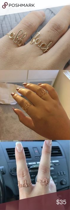 F. OFF Ring Set Brand new! Rose Gold plated. Purchase includes both rings and both are adjustable. Jewelry Rings