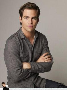 Chris Pine - great med. grey shirt for you