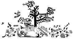Dibujo estilo Línea Fina de ceremonia de cópula entre Cara Arrugada y una mujer. Archivo Moche, ucla. Dibujado por Donna McClelland. Cultura Moche o Mochica | Sexualidad