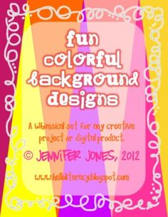 This product is a fun colorful set of 42 background designs (designed