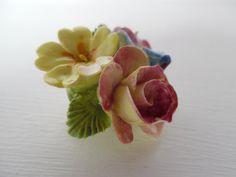 Floral, bone china brooch / pin, rose, primrose and pansy