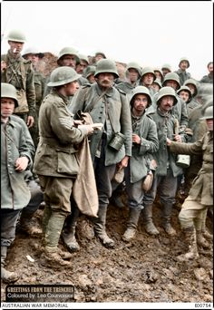 An australian sergeant of the 1st Division searching German prisoners captured…
