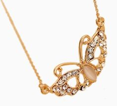 Fashion Butterfly Shape Cat Eye Stone Crystal Necklace for Decoration