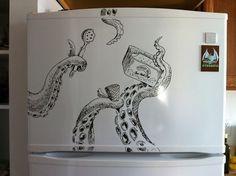 Designer Charlie Layton decorates his freezer door with illustrations every week! #illustration
