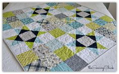 Navy and lime baby boy quilt