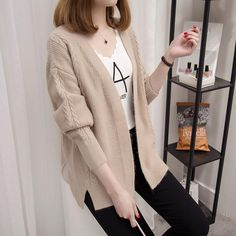 New Spring Autumn Ladies Loose Knit Coat Sweater Spring Twist Knit Cardigan Jersey Side Slits Solid Color Women Jumper