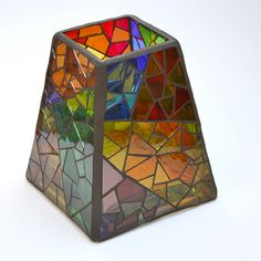 colour-blocked stained glass mosaic vase
