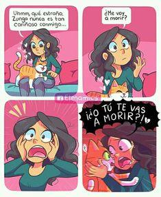 Cute Comics, Comics Girls, Funny Comics, Doctor Cat, Catana Comics, Romantic Comics, Mini Comic, Spanish Memes, Cute Stories