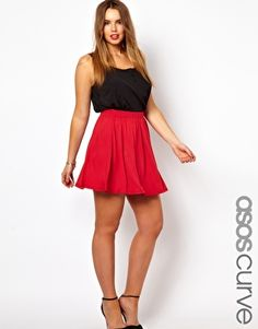 Image 1 ofASOS CURVE Exclusive Skater Skirt In Jersey
