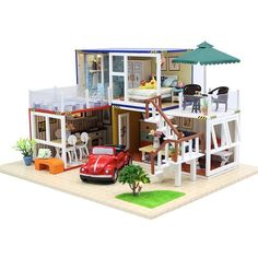 Wooden Doll-House with Furniture