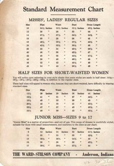 Vintage Ward-Stilson Standard Measurement Chart 1950S A