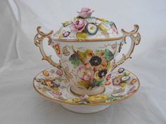 19TH CENTURY PORCELAIN CHOCOLATE CUP SAUCER POSSIBLY COALPORT FLOWER ENCRUSTED